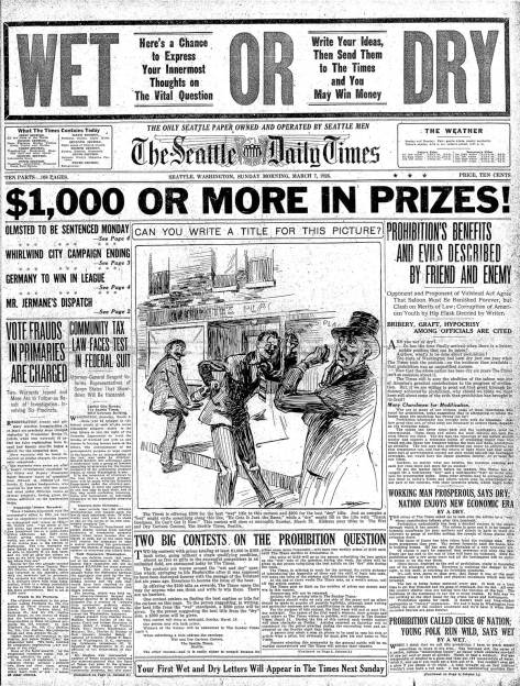 The Seattle Times registers the public ambivalence towards the prohibition with a pole and prizes! A clip from March 7, 1926, still seven years before the end of it.