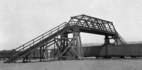 The Lander Street footbridge was another rail-crossing the city built for pedestrians in 1915. This Municipal Archive photograph is dated April 23, 1915.