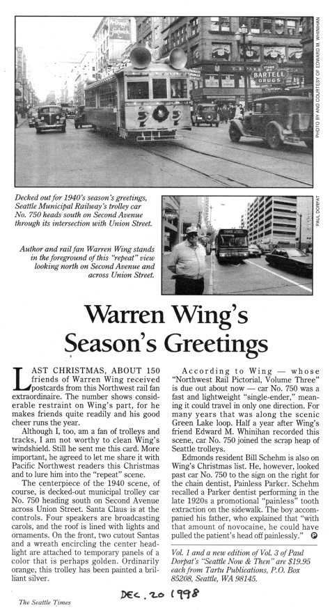 Mary Christmas from rail fan, author, and collector extraordinair, Warren Wing. Printed in the Times for December 20, 1998.