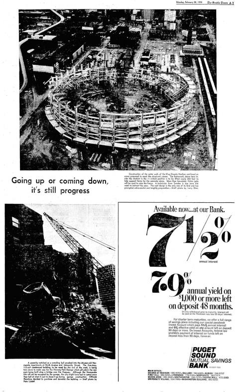 From The Seattle Times of February 25, 1974, an illustrated page on the building of the Kingdome over the razing of the Normandie Apartments.