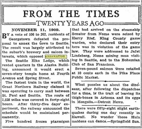 A TIMES clipping from Nov. 11, 1929 sampling news from twenty years earlier.