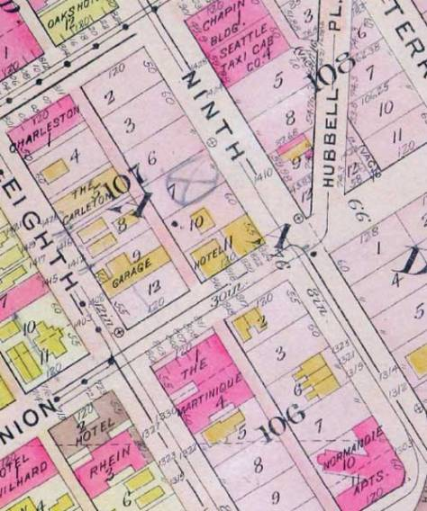 The unique intersection (right-center) of 9th Avenue and Union Street in a detail from the 1912 Baist Real Estate Map. Eighth Ave., on the left, is now a viaduct falling through the Convention Center on its span from Seneca Street to Pike Street.