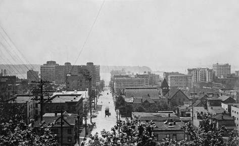 Looking west on Union Street from Terry Avenue before the building of the Claremont Apartments.