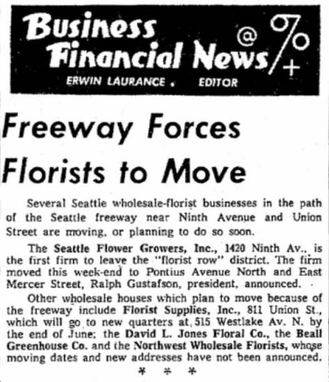 "A Times clip from June 6, 1960. Note, if you will, just before the ""Edge Links"" an aerial, also shared by Ron Edge, which shows the neighborhood during the construction of the Seattle Freeway."