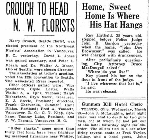 An earlier mention of Jones as a flower man included in a Times clip from March 29, 1933.