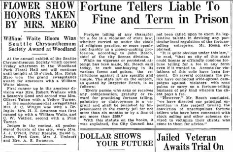 "Here, again, is David L. Jones as an energetic florest. But here also is a review of our laws on fortune telling in 1931 (and perhaps still) juxtaposed with the header for another report that it is the dollar that ""shows your future."" This is a jump for the article that started on page one. But you will need to visit the Times Archive for Nov. 15, 1931 to find the beginning of this prescient cash story."