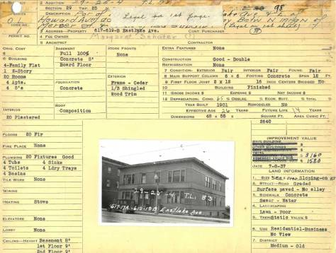 "A tax card for our feature's first neighbor to the north, the larger four unit apartment house from 617 thru 619 Eastlake. The photo was most likely taken on the same visit to the addition in 1937. Our Gothic ""cuties' is hidden behind it, but the part of the Jensen Apartment on the northwest corner of Mercer and Eastlake is showing on the far left."