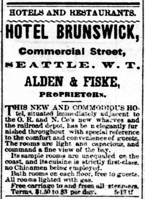 A Hotel Brunswick ad from the Sept 15, 1883 issue of the Post-Intelligencer.