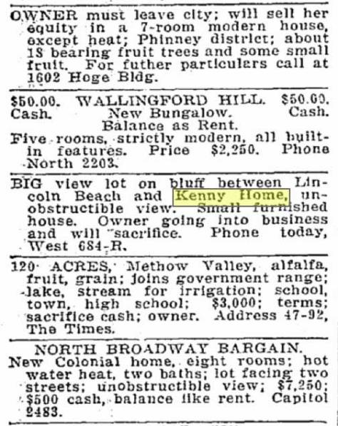 "This classified for a ""big view lot on bluff between Lincoln Beach and Kenny home"" appeared in the Times for December 19, 1915."