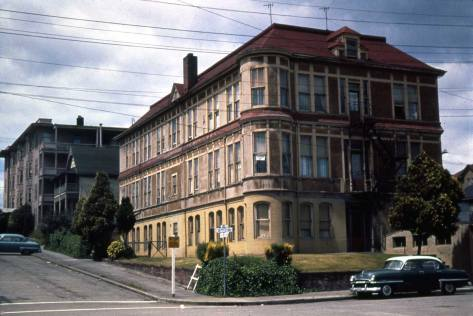 In its last incarnation as the Clarion Apartments. This is another neighborhood photo taken by Lawton Gowey who lived up the hill for his entire life.