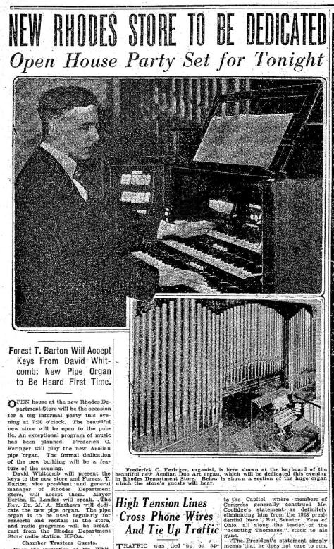 Times clip for the New Rhodes and its lobby organ. December 7, 1927.