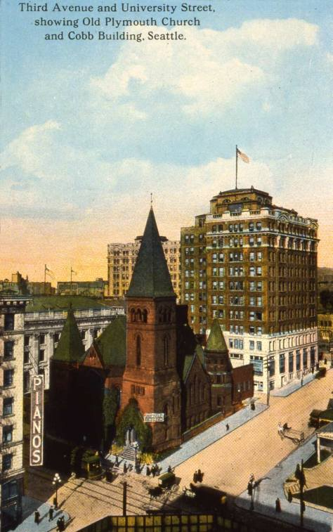 The Cobb Bldg at the northwest corner of University Street and Fourth Avenue stands taller than Plymouth's landmark tower with the help of a steep grade on University Street.