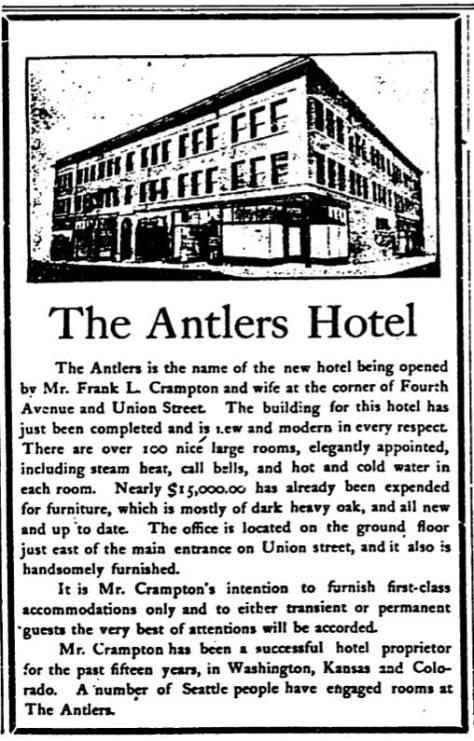 An August 30, 1903 promotion for the Antlers Hotel at the northwest corner of Union Street and Fourth Avenue.