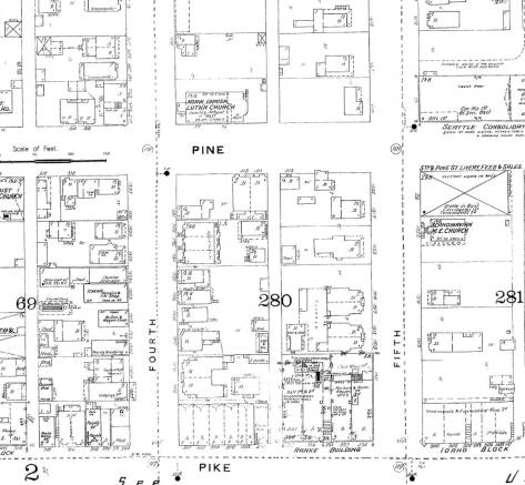 With a little patient searching a few of the buildings that appear in the detail above from the 1891 Seattle Birdseye also show in this 1893 Sanborn Real Estate Map.