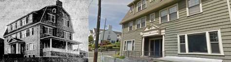 On the left, Delta Gamma's new home in 1916, and a century later, on the right. It was this structure that was arranged for use by the Russian House years after it had been moved across 25th Avenue, where it survives.