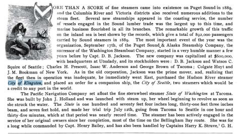 Part of a page on Lewis and Dryden's history of Puget Sound vessels published long ago.
