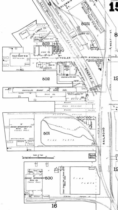 A detail of the featured docks grabbed from the 1893 Sanborn real estate map. Yesler's cock is at the top.