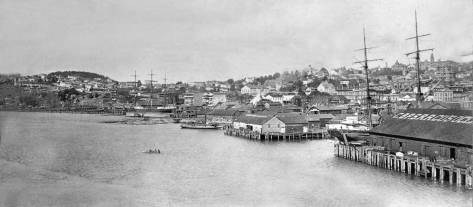 Another record of the waterfront looking north from the King Street Coal warf, this one most likely in 1887. Denny Hill, on the far left, has been cleared of trees for development, but there is as yet no Denny Hotel on the top of this the Hill's southern summit.