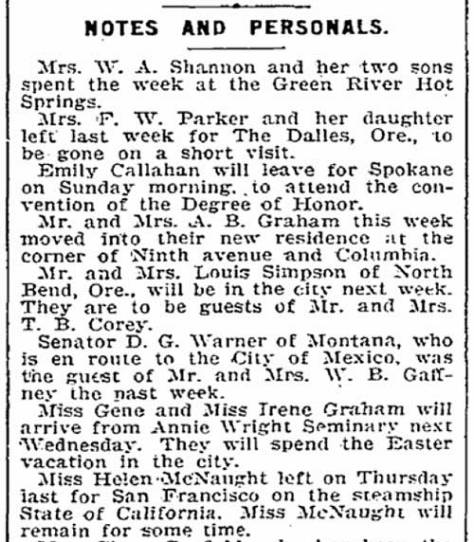 From The Times for April 6, 1901, the Grahams move in.