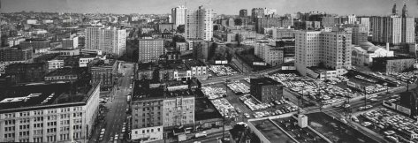 THEN: We give this panorama from the roof of the Washington Athletic Club a circa date of 1961, the year that Horizon House, a First Hill retirement community, first opened its doors to residents at Ninth Avenue and University Street. The high-rise L-shaped Horizon stands top-center. (Lawton Gowey)