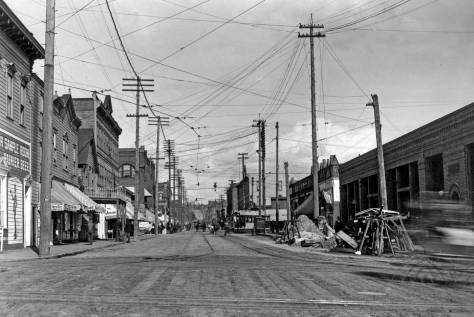 Pike Street looking east from First Ave., ca. 1899