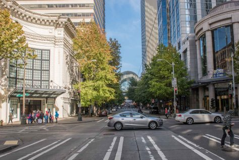 NOW: Much of the modern Pike Street, including the Coliseum Theatre (1916) on the left, was in place before the Great Depression. The exception, of course, is the Washington State Convention Center (1988).