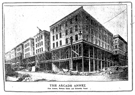 A screen photo of the Arcade Annex from The Seattle Times for February 1, 1907.