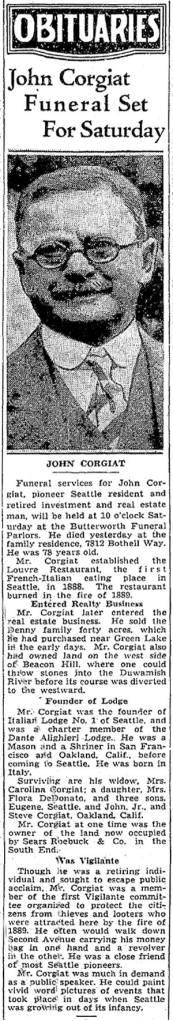 J. Corgiat's obituary in The Seattle Times.