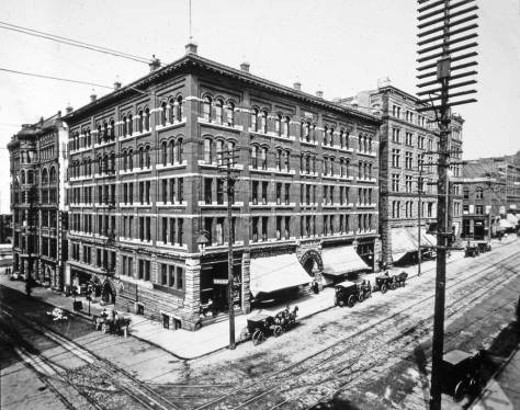 Anders Wilse's early citty-korner record of the Butler Hotel on the northwest corner of Second Avenue and James Street.