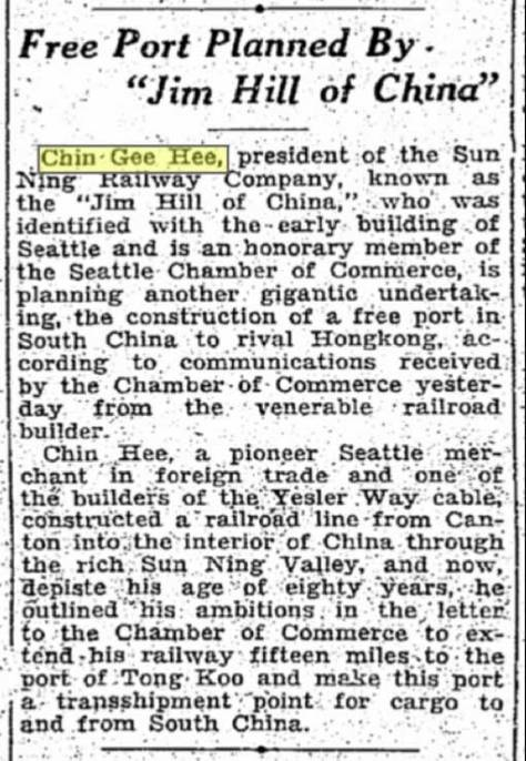 Seattle Times clip from Feb. 15, 1927 comparing Chin Gee Hee to the Great Norther Railroad's Jim Hill.