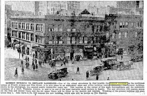 Click This To Read It. The Bigelow business building that held the northwest corner of Pike and Fourth Ave., until replaced