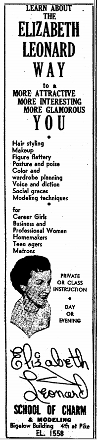A Times clip from Jan 2, 1955, promoting the many services of Elizabeth Leonard at her l