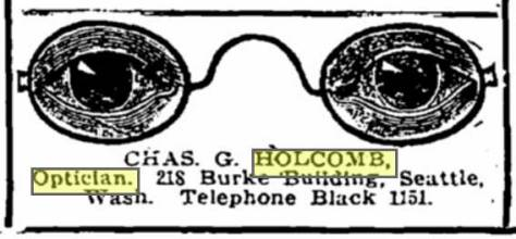 "A Times ad for Chas. Holcomb and his iconic opticals. (And that may be one of the better if many uses of ""iconic"" you will trip over this week.)"